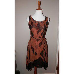 PERUVIAN CONNECTION Dress 6 Brown Black Silk